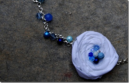 threaded rosette necklace blue