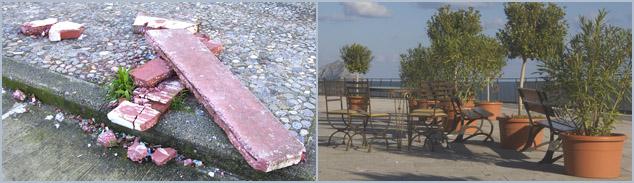 Crime - Mafia - Palermo - Schlechtes und gutes Beispiel (Bellvedere in Altavilla Milicia) für die Pflege öffentlichen Eigentums in Sizilien