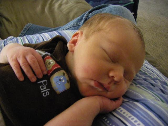 Happy sleepy breast-fed baby Jesse.