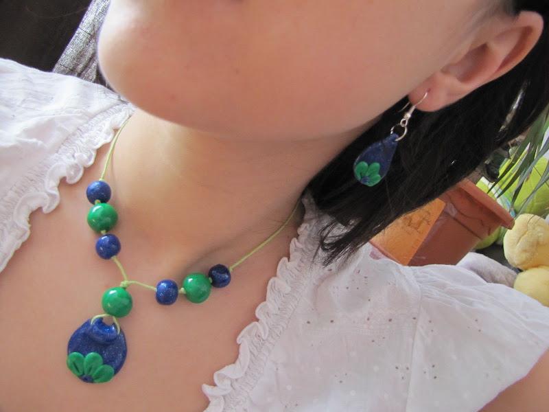 Set Fimo handmade cercei si pandantiv verde cu albastru