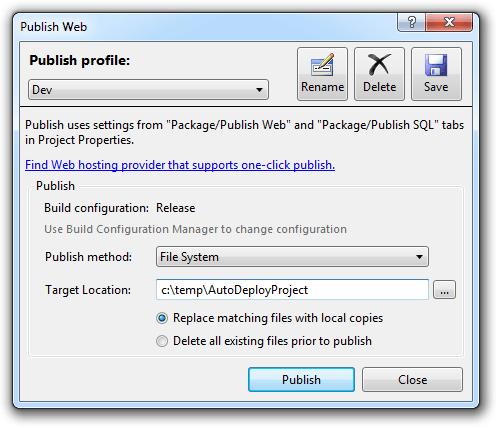 Configuring a publish profile