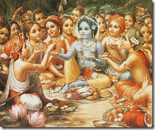 Krishna and friends having lunch
