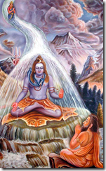 Bhagiratha praying for the Ganga to descend to earth