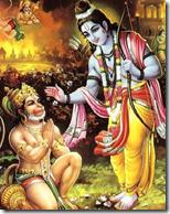 Lord Rama blessing Hanuman