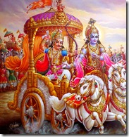 Arjuna and Krishna preparing for battle