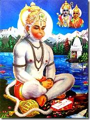 Hanuman practicing yoga