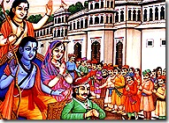 Sita, Rama, and Lakshmana leaving for the forest