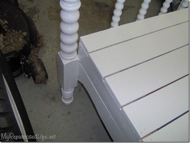 white headboard bench