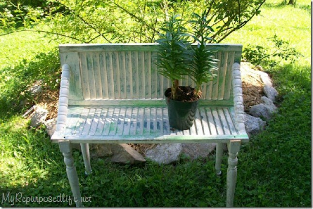 repurposed shutter garden plant bench