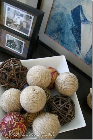 bowl of decorative balls