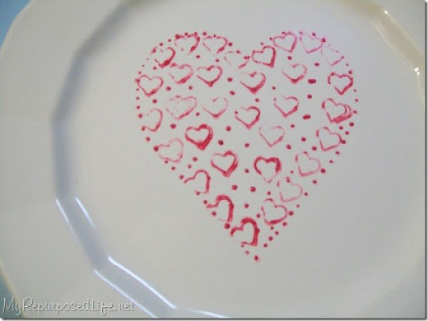 painted white plate for valentines day