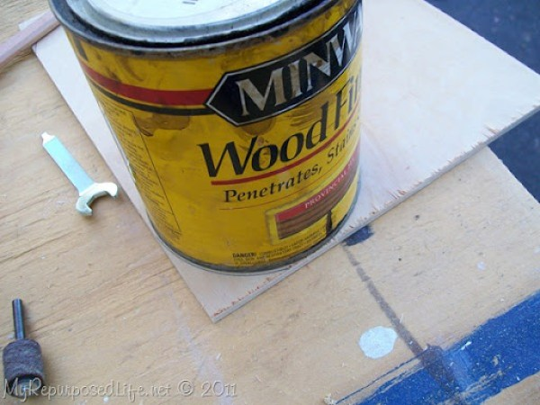 use a can to make a curve  pattern on plywood