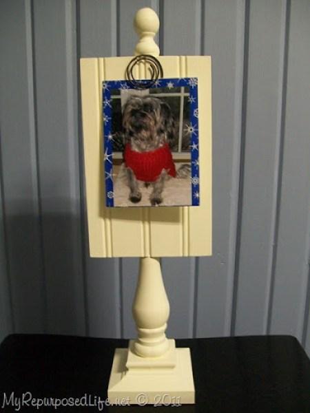 white bead board photo display stand MyRepurposedLife.com