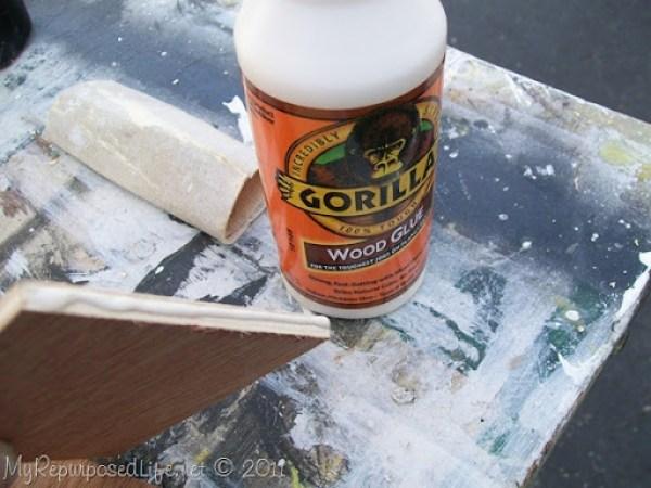 small amounts of wood glue work best
