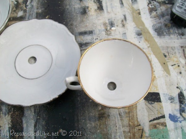 diamond bit drill hole in china teacup and saucer