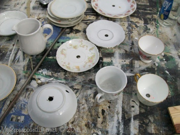pretty cups and saucers for teacup lamp