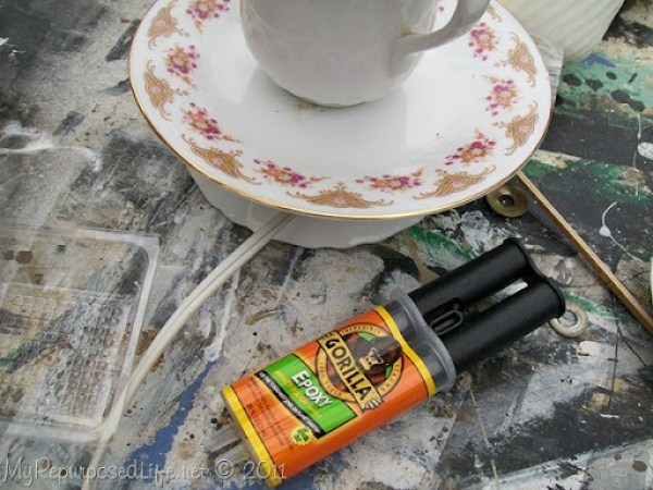 gorilla glue epoxy for teacup lamp
