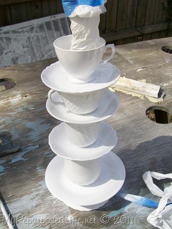 spray painted teacup lamp DIY