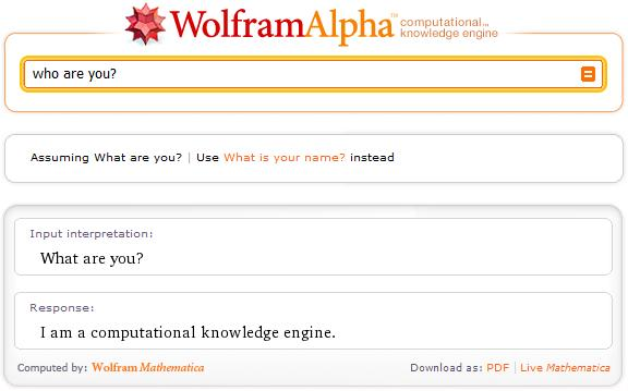 Who are you Wolfram|Alpha