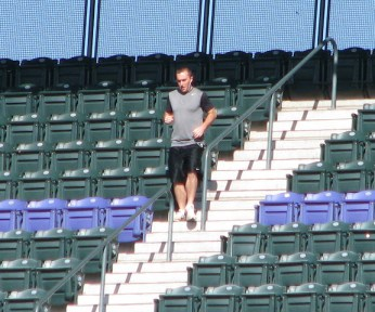 Jeff Francis Climbing the Coors Field Steps