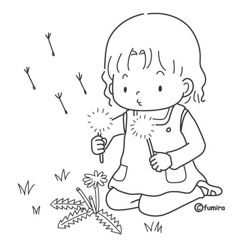 Children playing with plants, free coloring pages