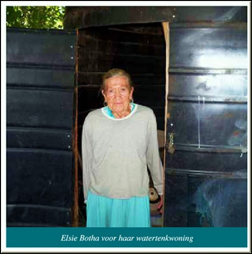 AfrikanerPoor Elsie Botha in her refitted watertank Eagles Nest Pretoria Helping Hand charity[5]