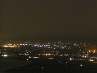 蔵王山展望台から万場調整池を望む(夜景)