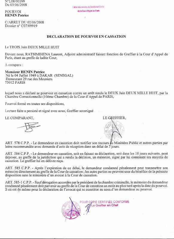 Dclaration De Pourvoi En Cassation  Nuit Qui Blmit Patrice Hnin