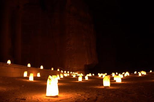 walkway candlelight