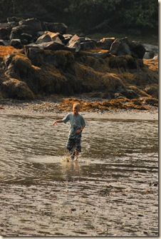 splashing in low tide