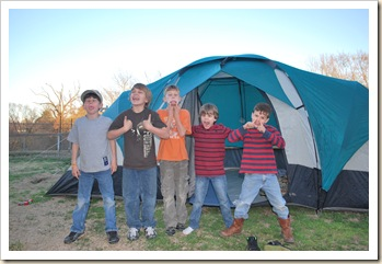 5 silly boys and a tent