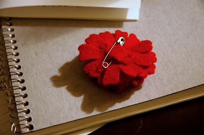 Red Flower Pin Back