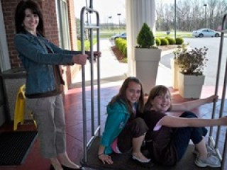 Fun with the luggage cart - Your Girl weekend  April 095