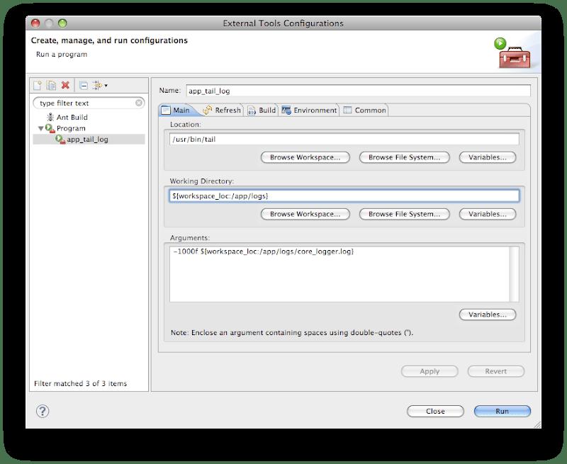 External tool configuration