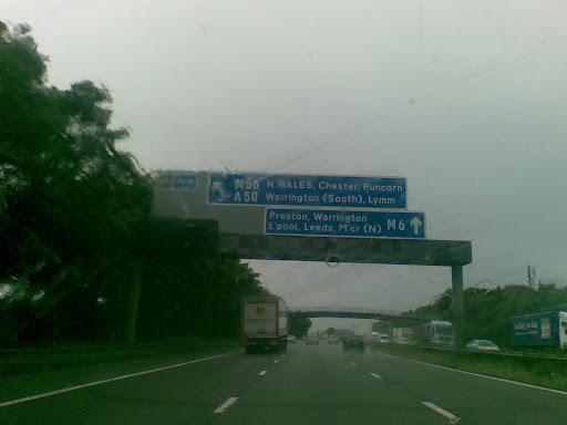 En route. Its always wet near Manchester.