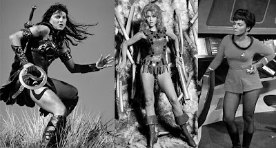 3 panels showing characters Xena, Barbarella and Uhura