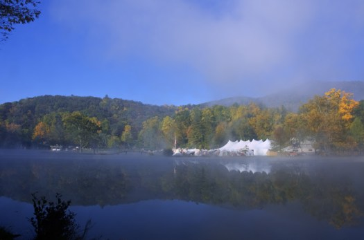 A high dynamic range - hdr - image of the Lake Eden Arts Festival - LEAF - in Black Mountain North Carolina in October 2008.