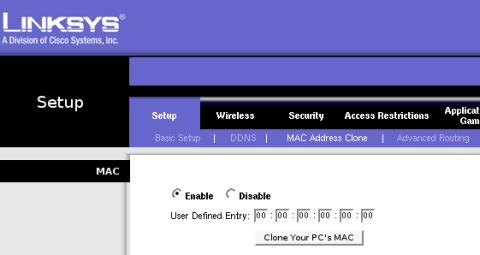 Mac address clone