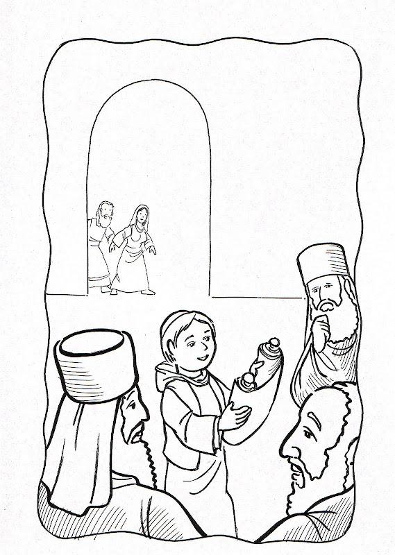 Dibujos Católicos : Niño Jesus hallado en el templo para