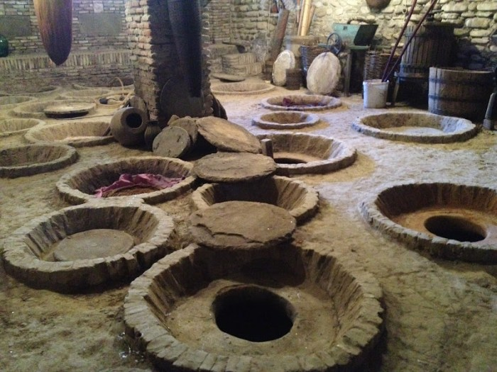Kveri jars buried underground in kakheti wine region
