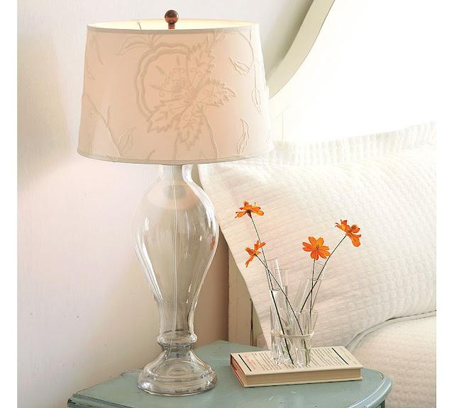 Great Pottery Barn Briana Glass Lamp