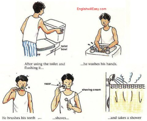 First thing in the morning - English Picture Dictionary for Everyday Activities
