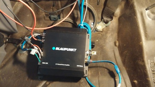 small resolution of and all buttoned up this is the base of the old amp the blaupunkt is mounted to sorry for the blurry shot but you all get the idea
