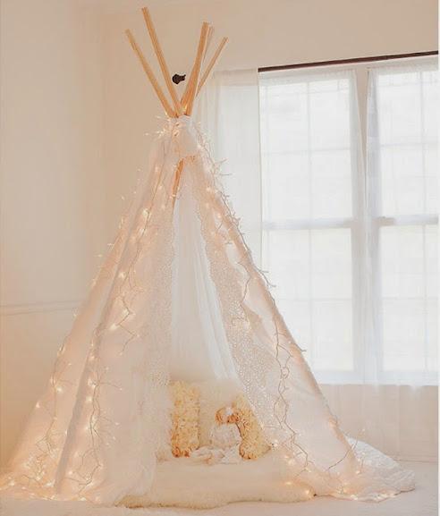 Decoração com tendas de tecido