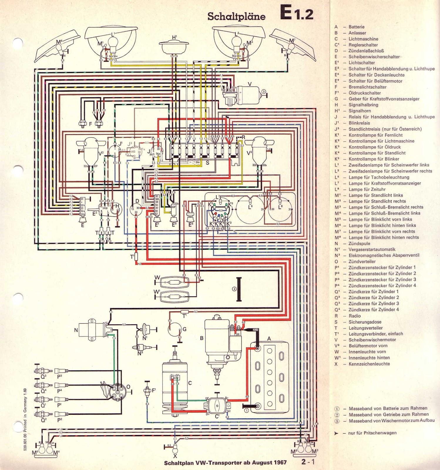 vw t1 wiring diagram 55 chevy under dash schemi elettrici