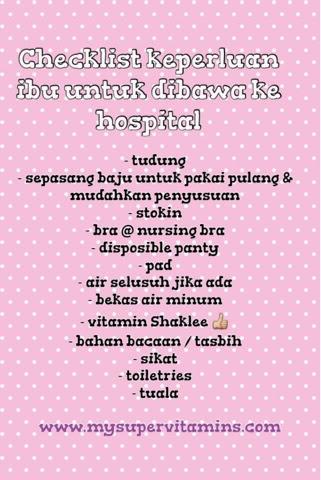 checklist keperluan ibu untuk ke hospital
