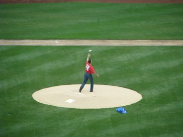 John Franco Throwing out the first ceremonial first pitch at Citi Field for a St. Johns game. -Ceetar