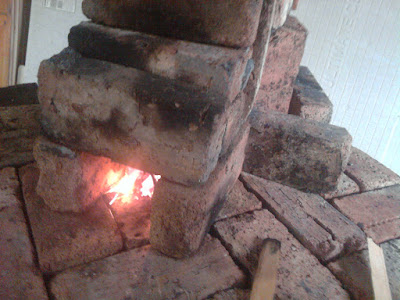 Initial brick burn chamber on top of the forge bed