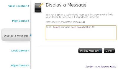 Kirim pesan menggunakan internet ke BB yang hilang