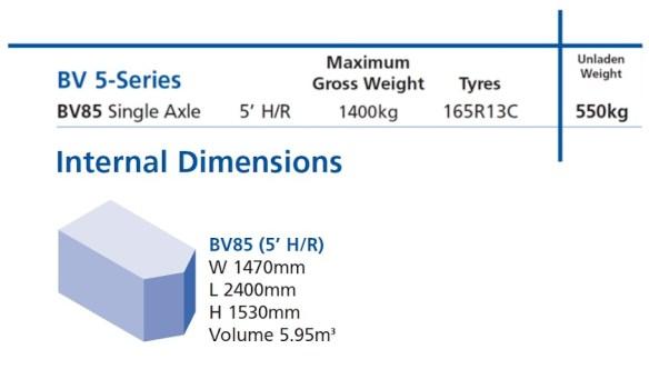 Ifor Williams BV85 Single Axle Trailer Diamensions
